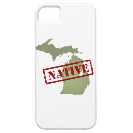 Natural de Michigan con el mapa de Michigan iPhone 5 Case-Mate Cárcasa