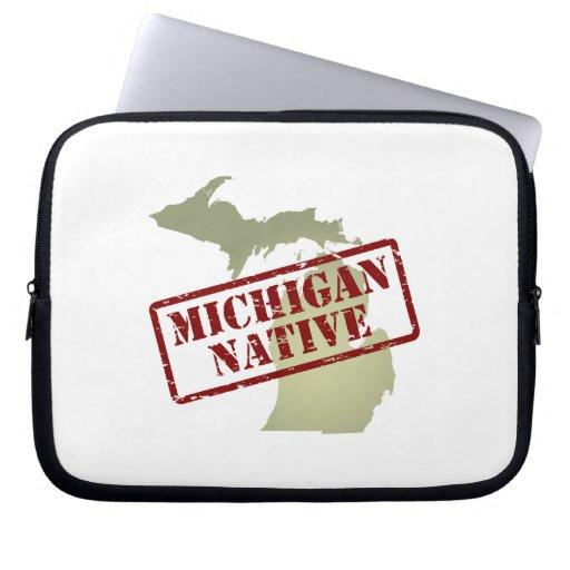 Natural de Michigan sellado en mapa Fundas Portátiles