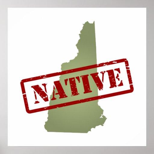 Natural de New Hampshire con el mapa de New Hampsh Poster