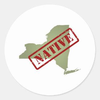 Natural de Nueva York con el mapa de Nueva York Etiqueta Redonda
