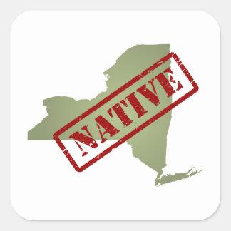 Natural de Nueva York con el mapa de Nueva York Pegatina Cuadrada
