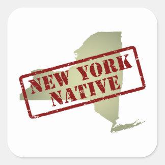 Natural de Nueva York sellado en mapa Pegatina Cuadrada