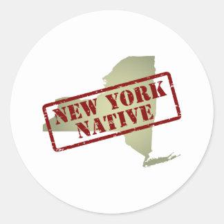 Natural de Nueva York sellado en mapa Pegatina Redonda