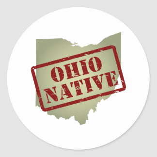 Natural de Ohio sellado en mapa Pegatina Redonda