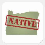 Natural de Oregon con el mapa de Oregon Calcomanías Cuadradas