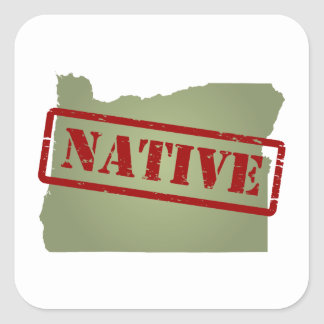 Natural de Oregon con el mapa de Oregon Pegatina Cuadrada