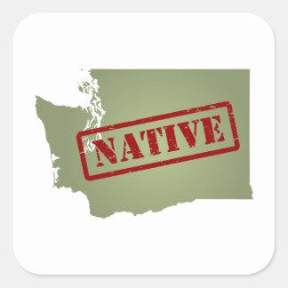 Natural de Washington con el mapa de Washington Pegatina Cuadrada
