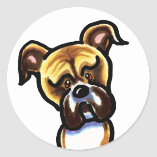Natural Ears Boxer Face Classic Round Sticker