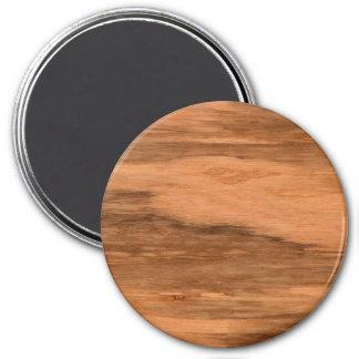 Natural Eucalyptus Wood Grain Look 3 Inch Round Magnet
