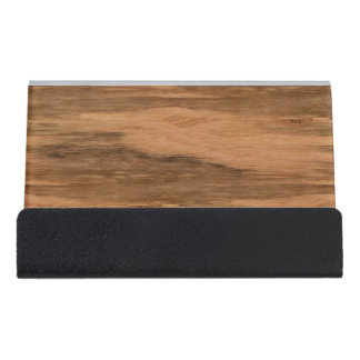 Natural Eucalyptus Wood Grain Look Desk Business Card Holder