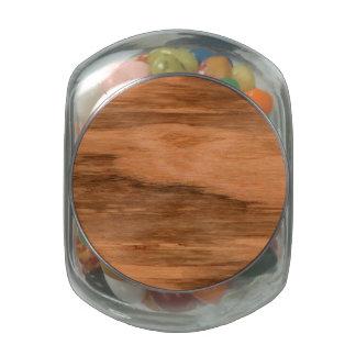 Natural Eucalyptus Wood Grain Look Glass Candy Jar