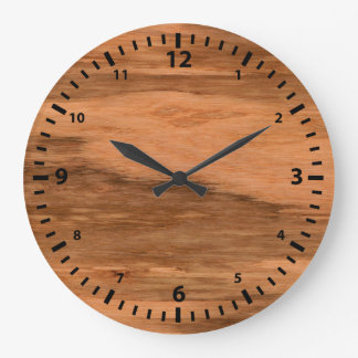 Natural Eucalyptus Wood Grain Look Large Clock