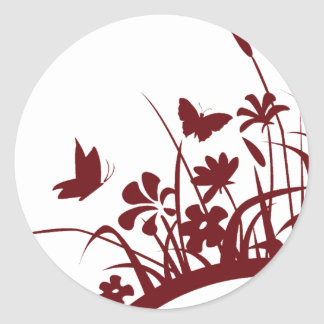 Natural Flower & Butterfly Classic Round Sticker