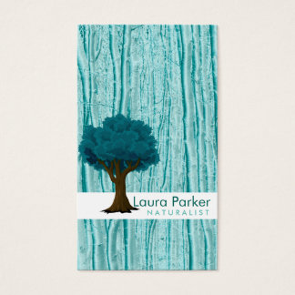 Natural Forest Teal Tree Care Landscape Lawn Business Card