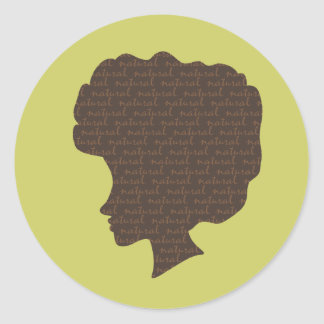 Natural 'Fro Classic Round Sticker