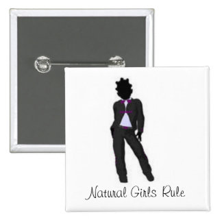 Natural Girl 2 Inch Square Button