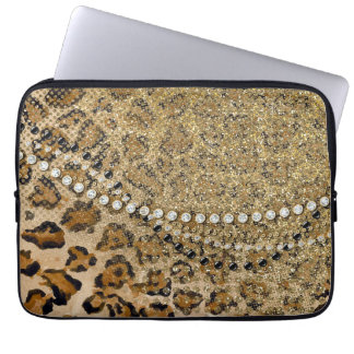 Natural Gold Leopard Animal Print Glitter Look Computer Sleeve
