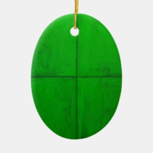 Natural Green Coordinate System (green minimalism) Double-Sided Oval Ceramic Christmas Ornament