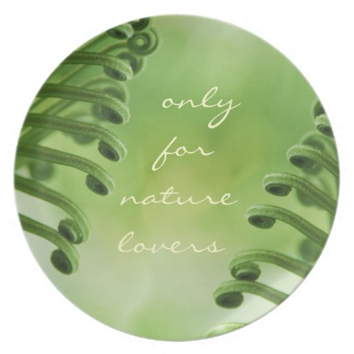 Natural, Green Curly Leaf - nature lover plate