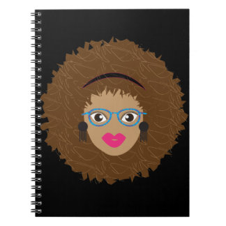Natural Hair Afro Glam Spiral Notebook