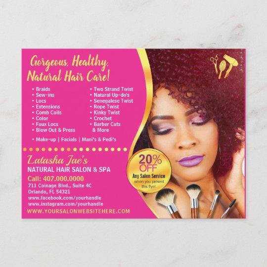 Hair Style Template: Natural Hair Care Salon Stylist Postcard Template