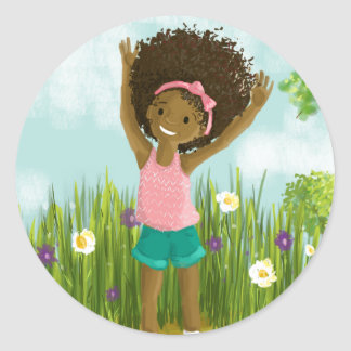 Natural Hair Greeting Card Classic Round Sticker