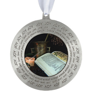 Natural Healing Round Pewter Ornament