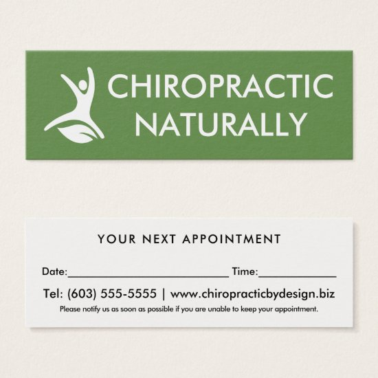 Natural Health Leaf Chiropractor Appointment Mini Business Card