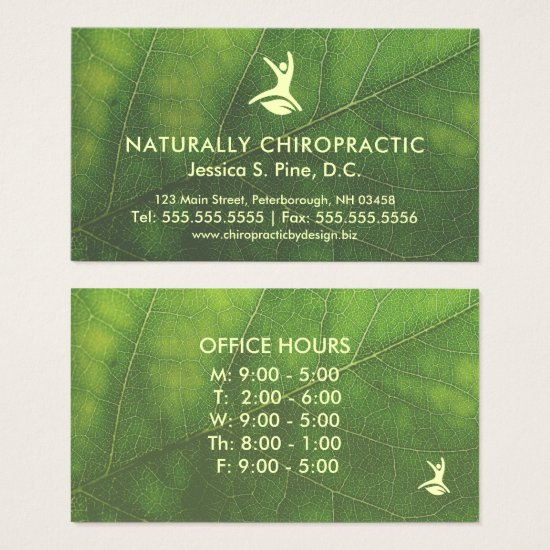 Natural Health Leaf Office Hours Chiropractor Business Card