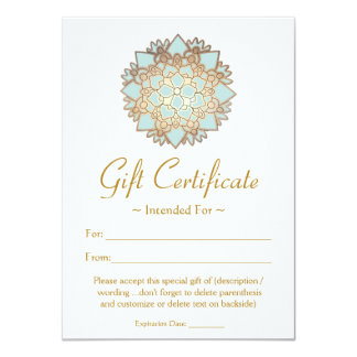 Natural Health Spa Lotus Flower Gift Certificate 4.5x6.25 Paper Invitation Card