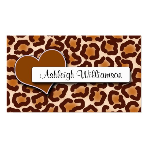 Natural Heart Leopard Print Appointment Cards Business Card Template
