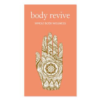 Natural & Holistic Health Henna Lotus Hand Orange Business Card