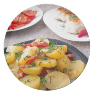 Natural homemade food closeup plate