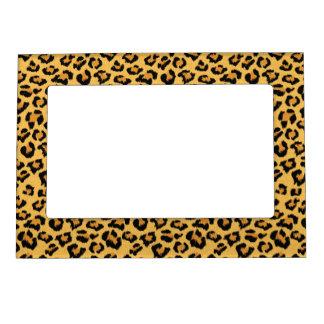 Natural Leopard Print Wild Cat Fake Fur Pattern Magnetic Frame