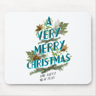 Natural letters christmas tree mouse pad