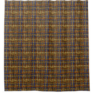Natural Look Woven Strings Blue Shower Curtain