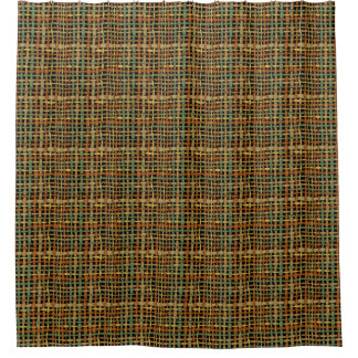 Natural Look Woven Strings Green Shower Curtain