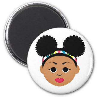 Natural Me Collection (Afro Puff Girl) 2 Inch Round Magnet