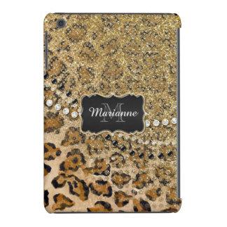 Natural n Gold Leopard Animal Print Glitter Look iPad Mini Cases
