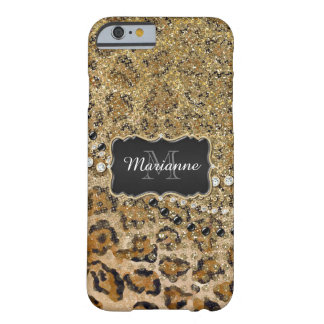 Natural n Gold Leopard Animal Print Glitter Look Barely There iPhone 6 Case