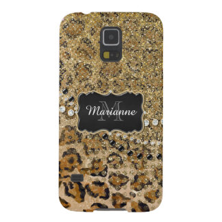 Natural n Gold Leopard Animal Print Glitter Look Galaxy S5 Cases