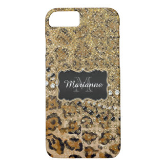 Natural n Gold Leopard Animal Print Glitter Look iPhone 8/7 Case