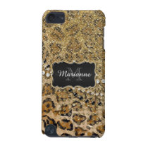 Natural n Gold Leopard Animal Print Glitter Look iPod Touch 5G Cover