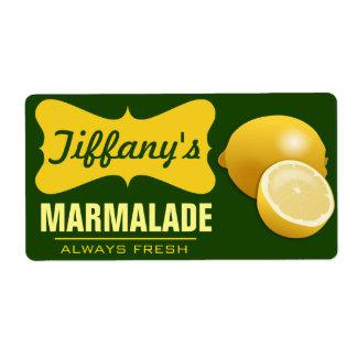 Natural Organic | Lemon Jam | Lemon Marmalade Label