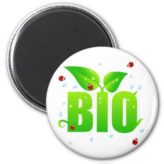 Natural orgánico biológico verde imán redondo 5 cm