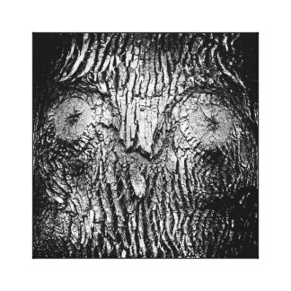 Natural Owl Face in Tree Trunk Black and White Canvas Print