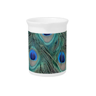 Natural Peacock Feather Eyes Colorful Beverage Pitcher