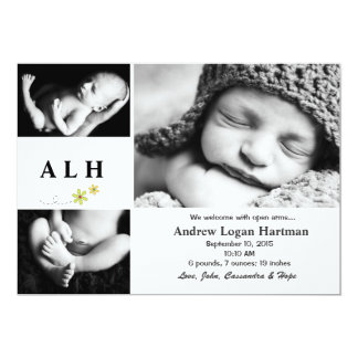 "Natural - Photo Birth Announcement 5"" X 7"" Invitation Card"