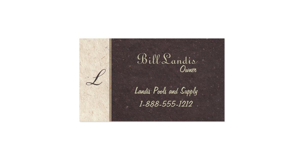 Natural pressed paper dark brown business card zazzle for Brown paper business cards