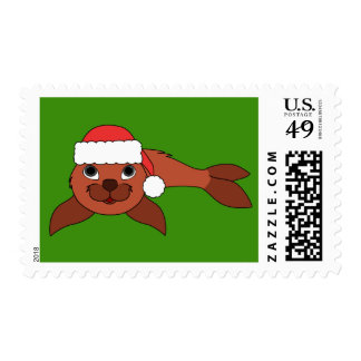 Natural Red Baby Seal with Red Santa Hat Postage